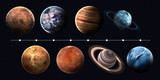 Fototapety Solar system planets, pluto and sun in highest quality and resolution. Elements of this image furnished by NASA