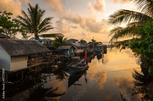 Landscape of Thailand Sea with Thai Southern Fishing Boat at Sunrise, Songkhla, Thailand © ratnakorn