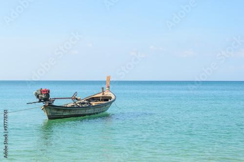 Poster Traditional thai longtail boat at Naiyang beach,Phuket in Thailand