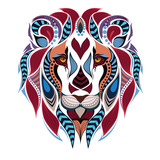 Patterned colored head of the lion. African / indian / totem / tattoo design. It may be used for design of a t-shirt, bag, postcard and poster.
