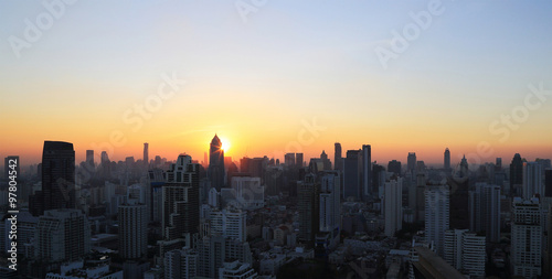 Fotobehang New York Cityscape sunset at evening time