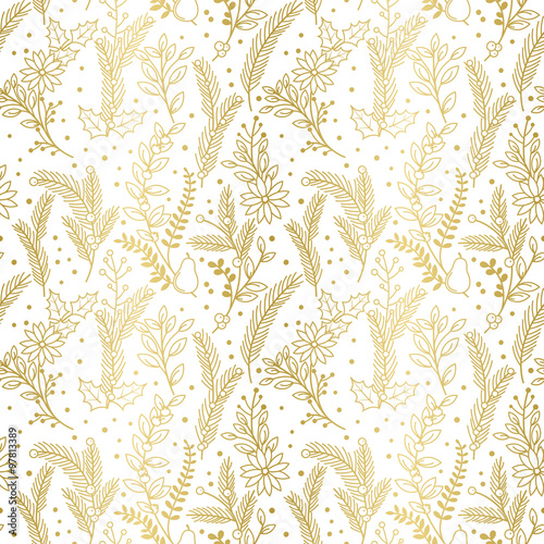 Cotton fabric Seamless Vector Pattern of Faux Gold Foil Christmas Holiday Florals