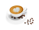 Fototapety Cup of coffee latte and coffee beans isolated on white backgroud