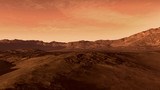 Mars like red planet, with arid landscape, rocky hills and mountains, for space exploration and science fiction backgrounds.