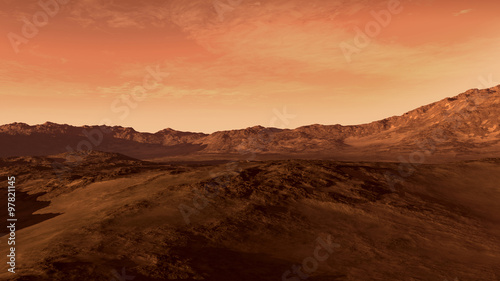 Aluminium Koraal Mars like red planet, with arid landscape, rocky hills and mountains, for space exploration and science fiction backgrounds.