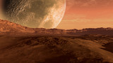 Fototapety Mars like red planet with arid landscape, rocky hills and mountains, and a giant moon at the horizon, for space exploration and science fiction backgrounds
