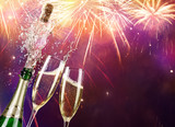 Champagne And Bottle With Fireworks