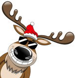 Cartoon smiling reindeer popping up wearing sunglasses isolated