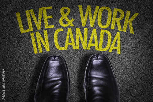 Top View of Business Shoes on the floor with the text: Live & Work in Canada Poster