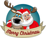 Cartoon funny reindeer and santa claus hugging and wishing merry christmas in round frame isolated
