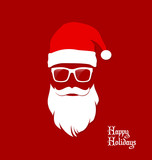 Fototapety Hipster Santa Claus, Party, Greeting Card, Banner, Sticker, Hipster Style. Santa Geek.