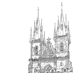 Prague town, Czech Republic. Church of Mother of God before Týn, Old Town Square in European city, black & white vector sketch hand drawn collection.