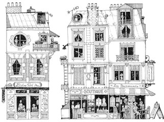 simple illustration french city houses shops apartments bistro restaurant small shop boutique