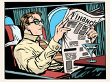 Fototapety Business class plane businessman reads the press