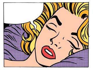 Beautiful woman blonde sleeps and dreams