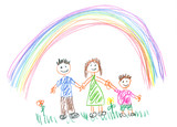 Fototapety Drawing made by a child, happy family in the spring