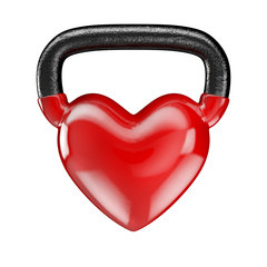 Kettlebell heart vinyl / 3D render of heavy heart shaped kettlebell © grandeduc