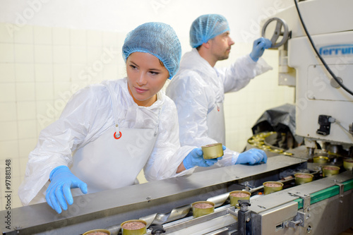 Foto Murales Workers on food production line