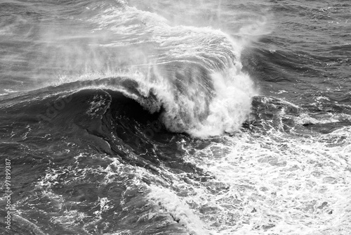 Dynamic black and white waves Poster