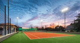 Tennis court at a private estate in the twilight and magic sky - 97909957