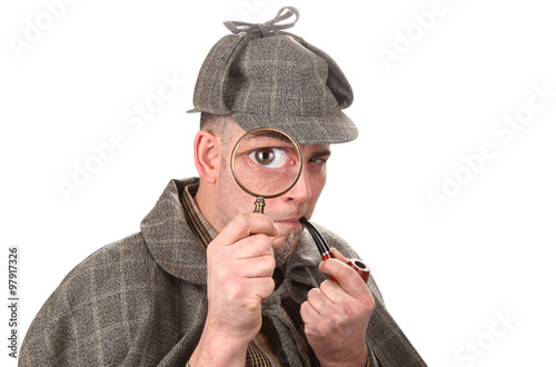 Detective investigate with magnifying glass big eye Poster