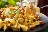 Fototapety Pasta Carbonara with bacon, basil and cheese