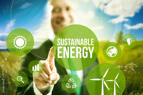 Sustainable energy renewable business models concept. Poster