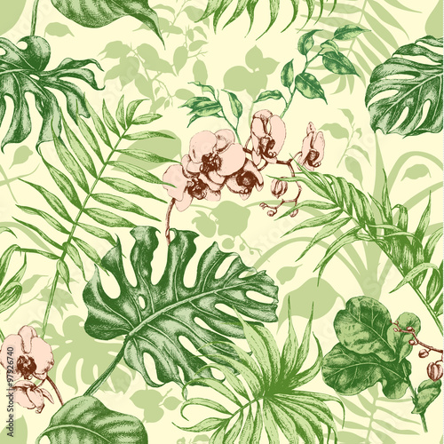 Cotton fabric Tropical plants seamless background.