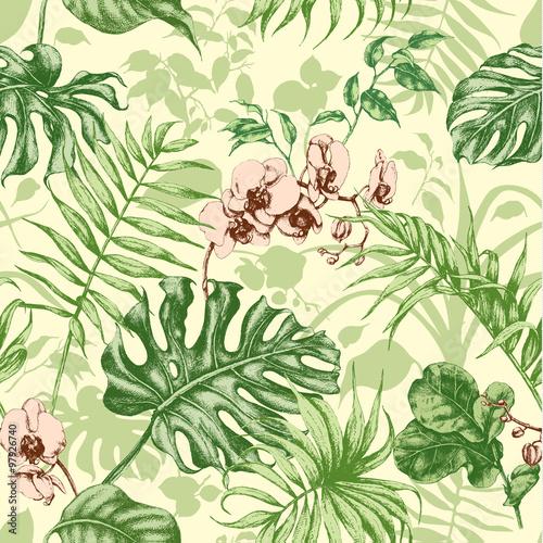 Materiał do szycia Rośliny tropikalne bezszwowe tło.