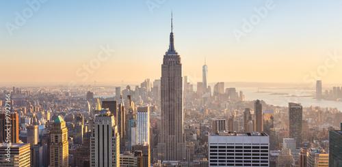 Foto Murales New York City Manhattan skyline in sunset.