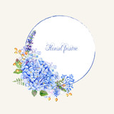 Vector round frame of blue hydrangea and other flowers. - 97927561