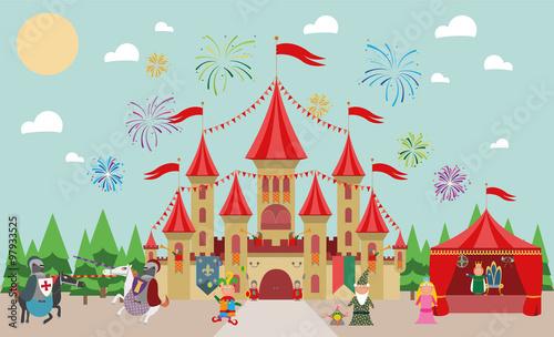 Castillo medieval con personajes infantiles (rey, princesa, mago, caballeros y bufón) y fuegos artificiales. Ilustración de vector.