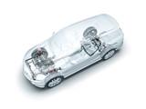 Transparente Auto mit dem Motor, Getriebe und Fahrwerk