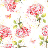 Seamless background pattern with watercolor roses, splashes and butterflies