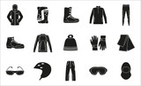 Set of cloth and shoes for winter sport. Black silhouette design. Ski icons series.