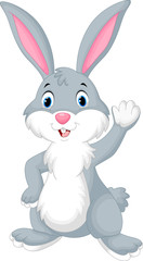 Rabbit cartoon waving hand