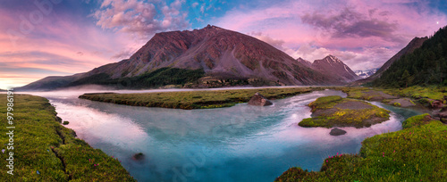 obraz lub plakat Panorama of beautiful lake in mountain valley