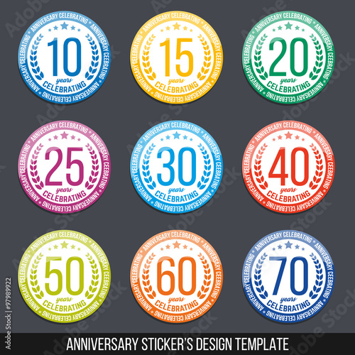Vector Set Of Anniversary Color Signs Symbols 10 15 20 25 30 40 5060 70 Years Jubilee