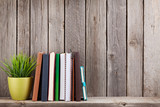 Fototapety Wooden shelf with books