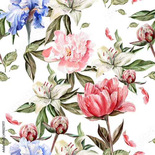 Watercolor pattern with flowers  iris, peonies and lilies, buds and petals. - 98027977