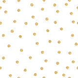 Fototapety Gold shimmer glitter polka dot seamless pattern. Vector foil abstract circles texture. Sparkle balls background.
