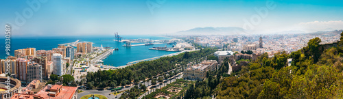 Panorama cityscape aerial view of Malaga, Spain