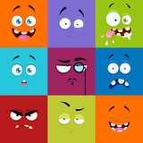 Fototapety Set of cartoon faces with expression of emotions