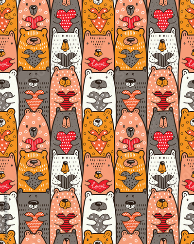 Cotton fabric Bears with hearts. Vector seamless pattern