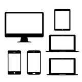 Computer monitor laptop tablet Mobile Phone Electronic gadgets Vector Icon
