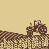 oval label with the landscape. tractor in field