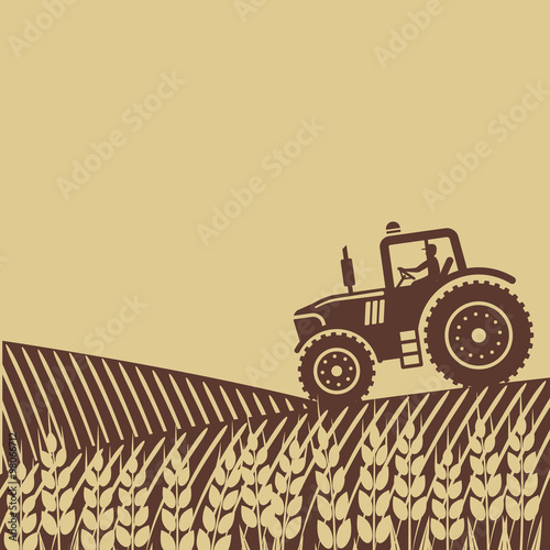 Poster tractor in field