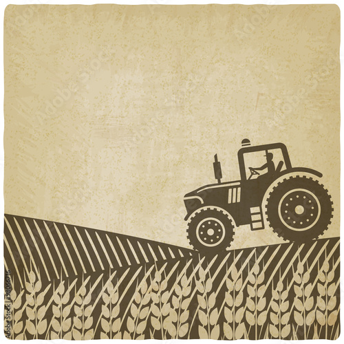 Poster tractor in field old background