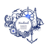 Nautical marine composition icon doodle