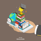 Fototapety Online education isometric flat vector concept.